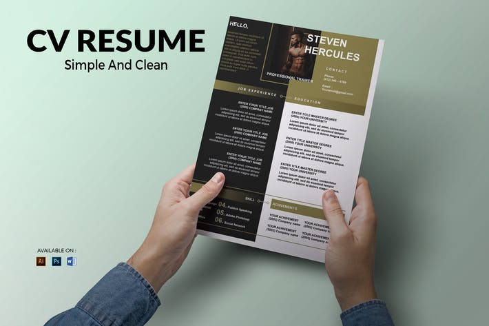 Thumbnail for CV Resume clean And Bold