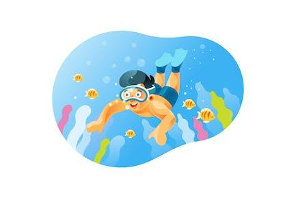 Diver boy ve el hermoso paisaje submarino