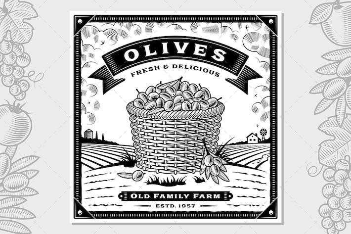 Thumbnail for Ретро оливковый урожай этикетки с пейзаж