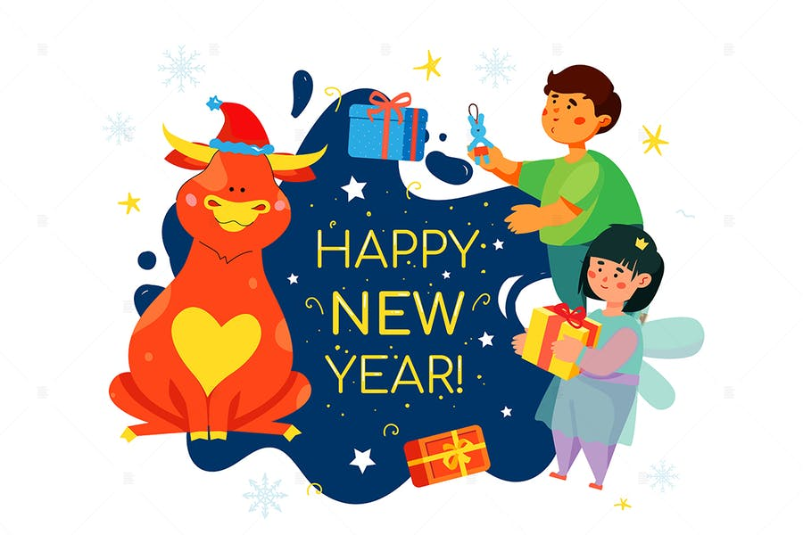 Children celebrating New Year 2021 - illustration