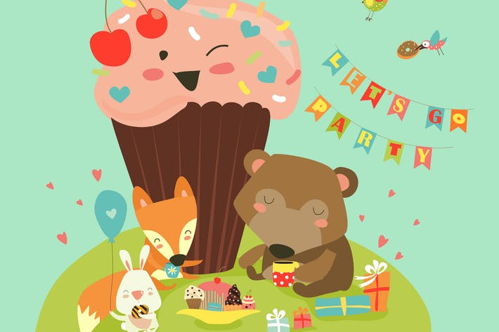 Thumbnail for Birthday background with happy animals. Vector
