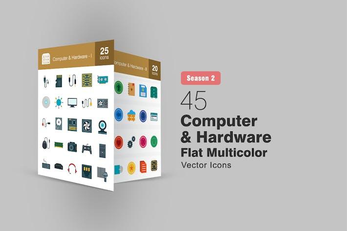 Thumbnail for 45 Computer & Hardware Flat Icons Season II