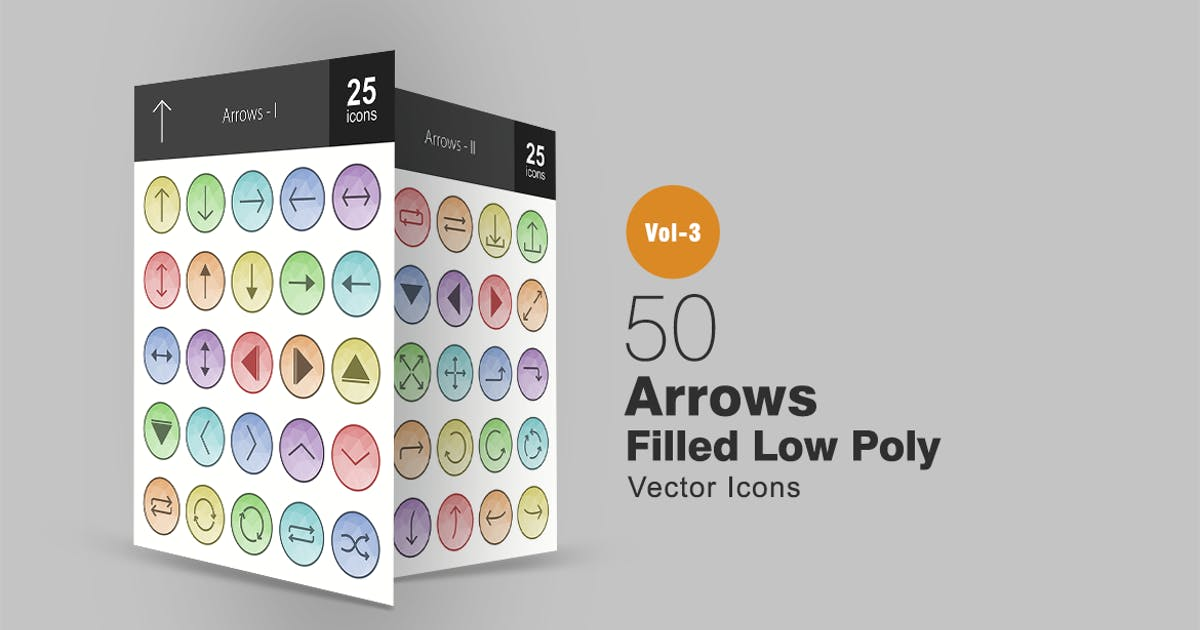 Download 50 Arrows Filled Low Poly Icons by IconBunny