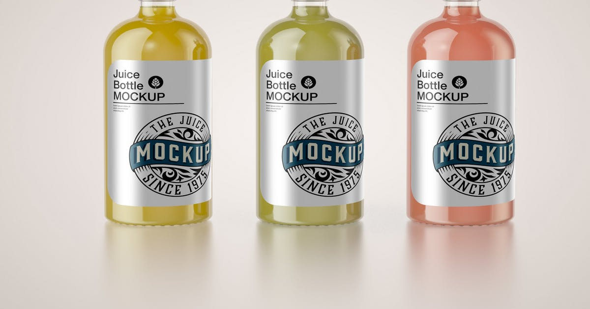 Download Set of 3 Juice Glass Bottle Mockup by roverto007