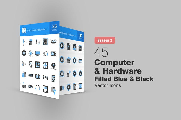 Thumbnail for 45 Computer & Hardware Filled Blue & Black Icons