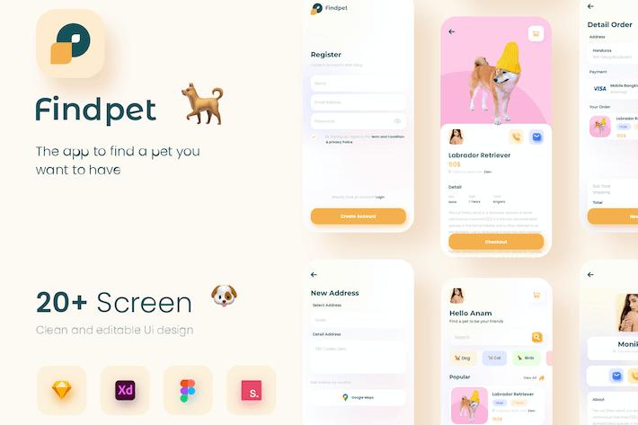 Thumbnail for FIndPet - Pet Adoption Apps UI Kit