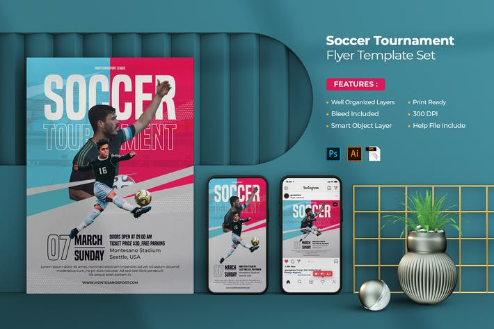 Soccer Tournament Flyer - Instagram Post & Stories