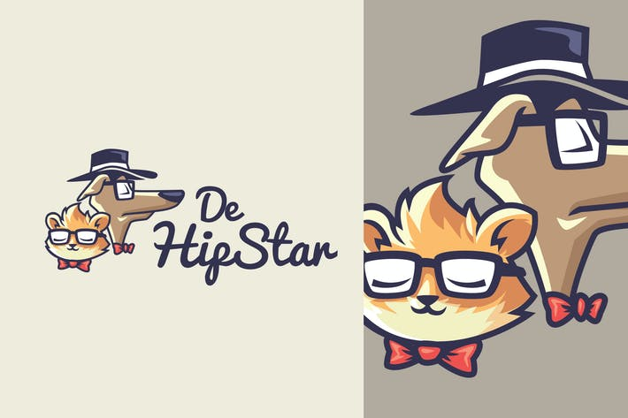 Thumbnail for Hipster Pet - Dog and Cat Mascot Logo