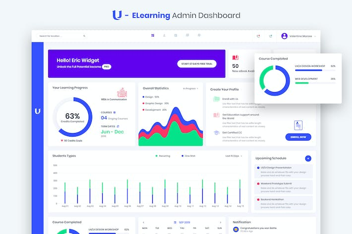 Thumbnail for Ultreos - E Learning Admin Dashboard UI Kit