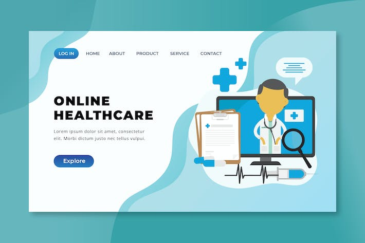 Thumbnail for Online Healthcare - XD PSD AI Vector Landing Page