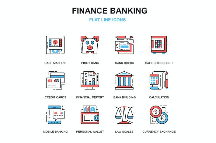 Thumbnail for Thin line banking and finance icons set