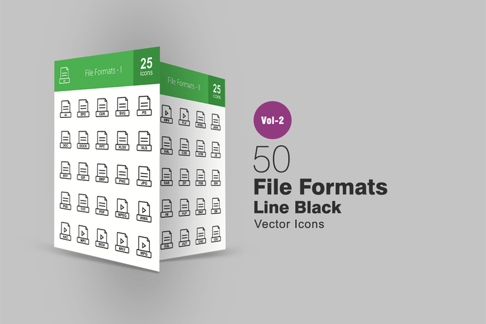 Thumbnail for 50 File Formats Line Icons