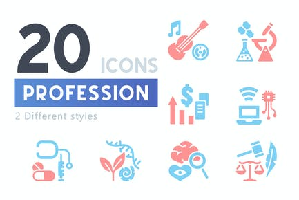 20 Profession icon set