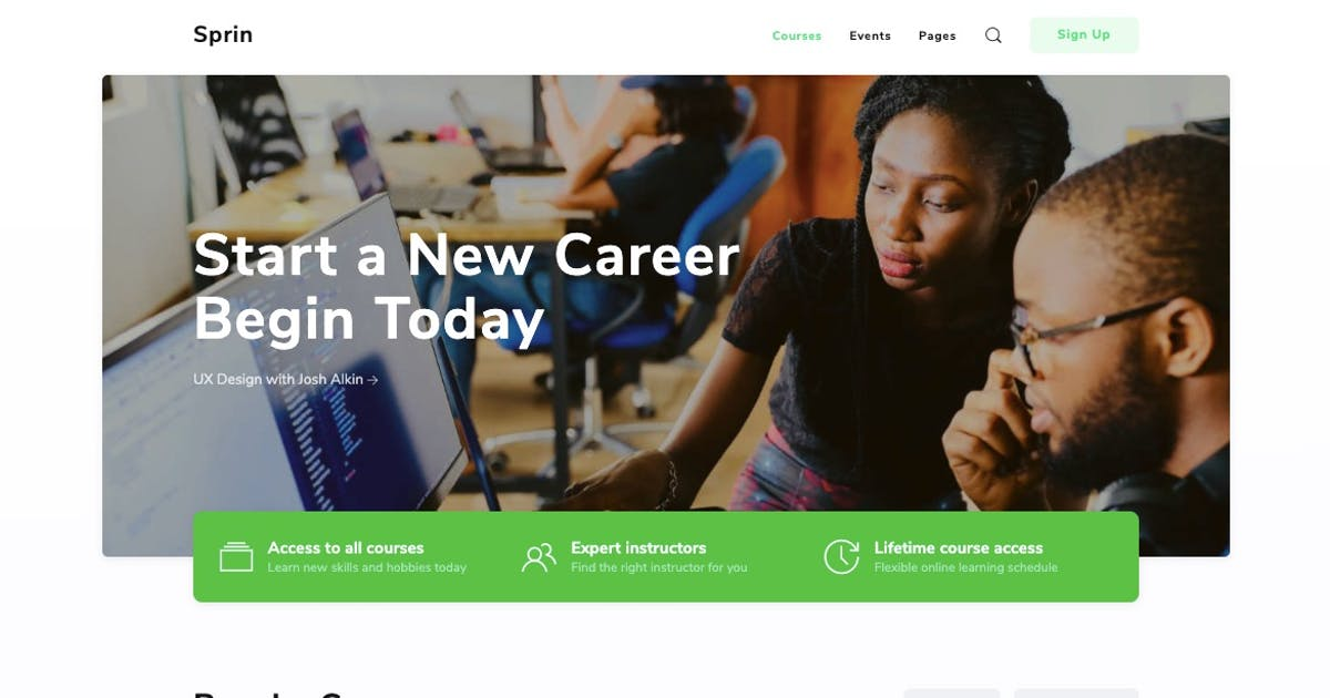 Download Sprin - Courses & Events HTML5 Responsive Template by PressApps