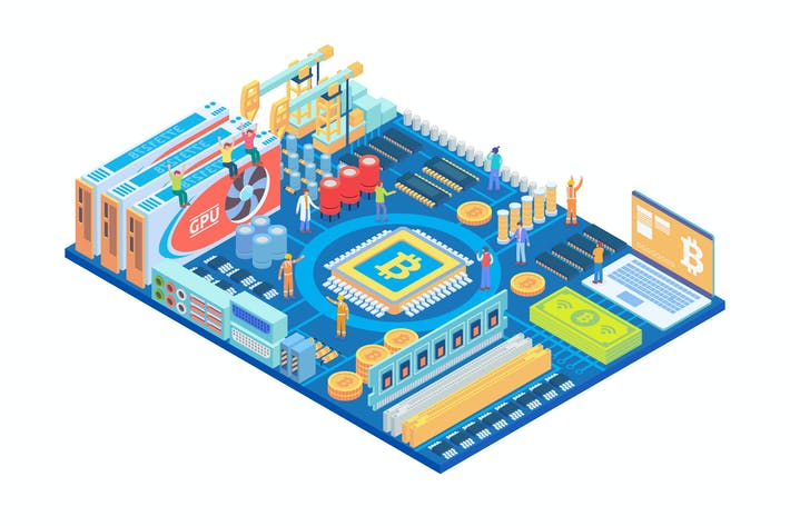 Thumbnail for Isometric Bitcoin Mining in Circuit Board Concept
