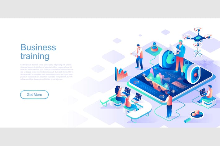 Thumbnail for Business Training Isometric Flat Concept Header