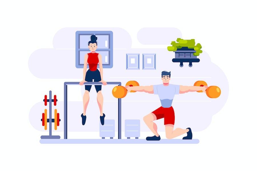 Two athletes practice gymnastics.