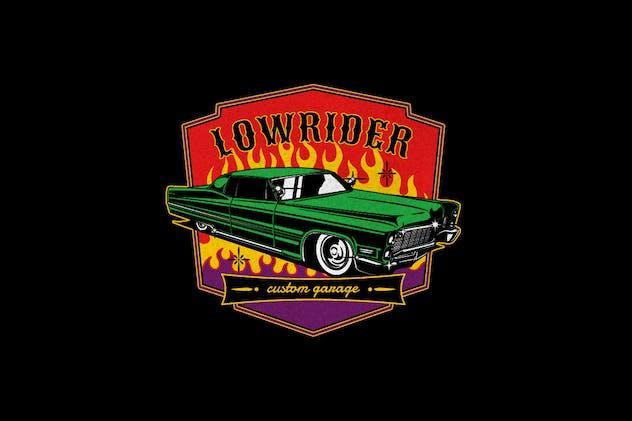 Lowriders Car Garage Club Logo Badge
