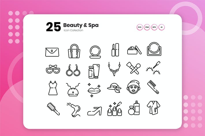 Thumbnail for 25 Beauty & Spa Umriss Icon Set