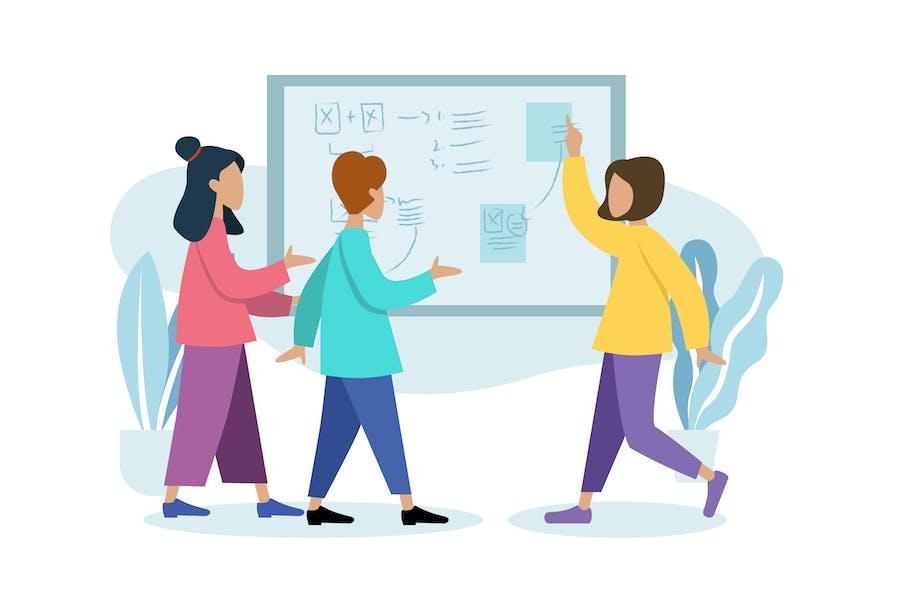 business meeting illustration website mobile ui
