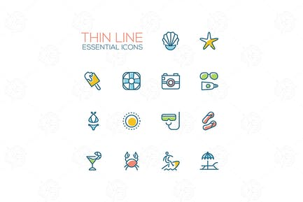Summer time - modern vector single line icons