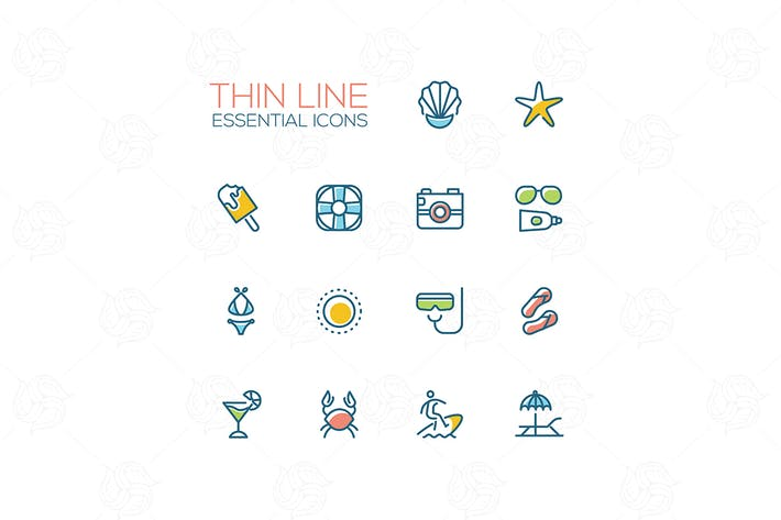 Thumbnail for Summer time - modern vector single line icons