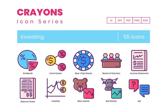 Thumbnail for Investing Icons | Crayon Series