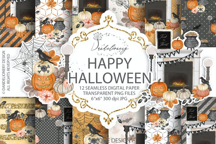 Thumbnail for Happy Halloween digital paper pack