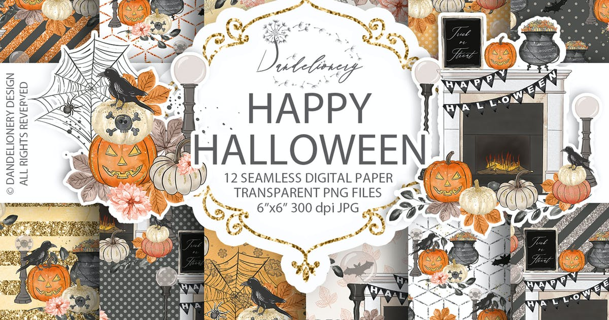 Download Happy Halloween digital paper pack by designloverstudio