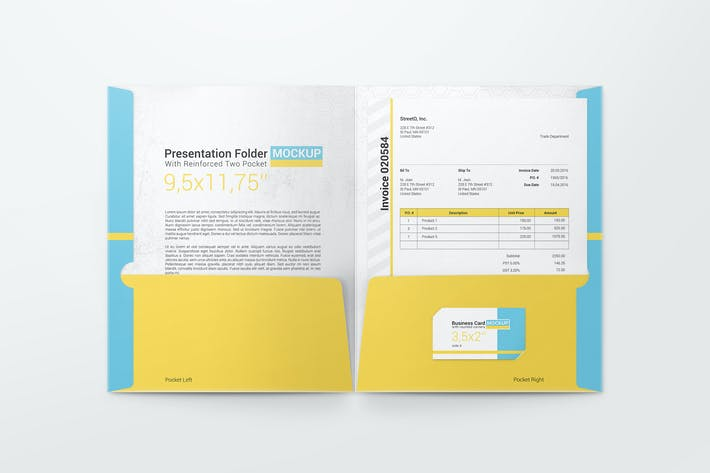 Thumbnail for Reinforced Two Pocket Presentation Folder Mockup