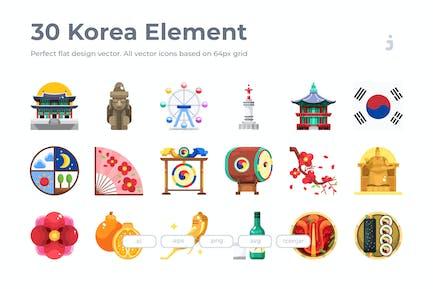 30 Korea Element Icons - Flat