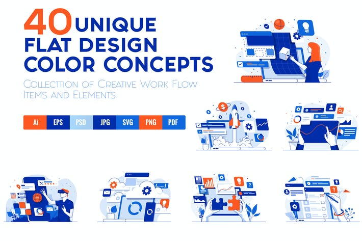 Thumbnail for Set of 40 Modern Flat Design Concepts