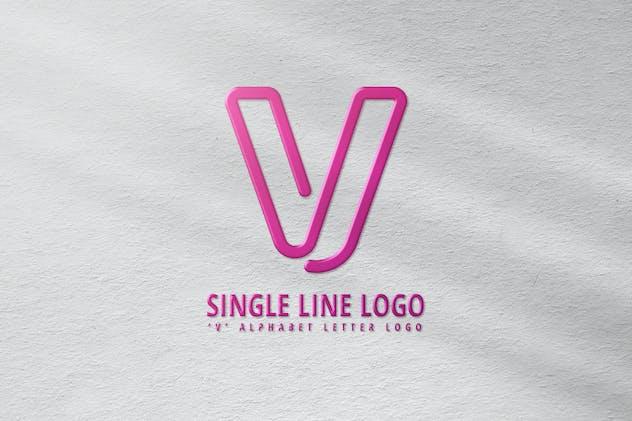 V Single Line Logo