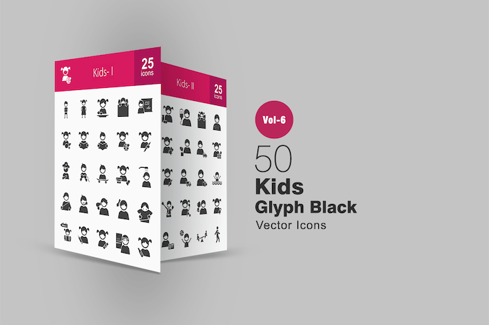 Thumbnail for 50 Kids Glyph Icons
