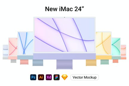 New iMac 24 Vector Mockup