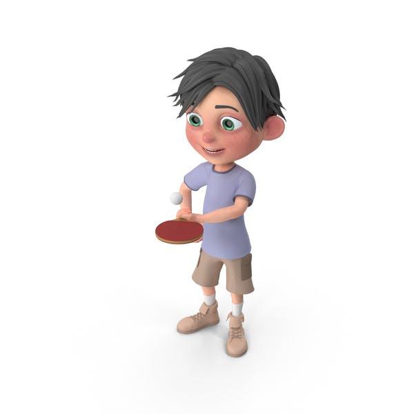 Cartoon Boy Jack Playing Table Tennis