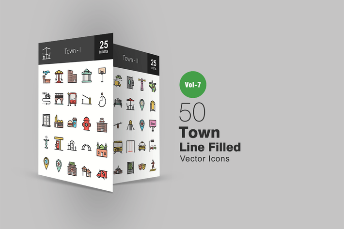 Thumbnail for 50 Town Filled Line Icons