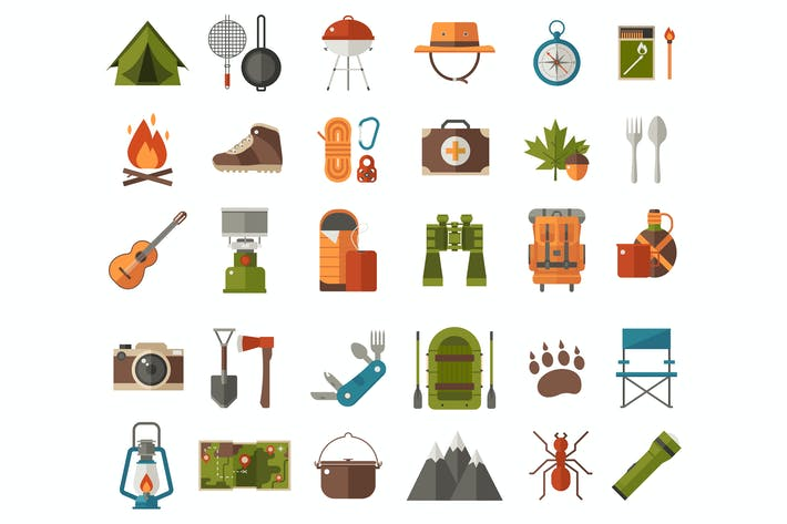 Thumbnail for Iconos vectoriales de senderismo y camping