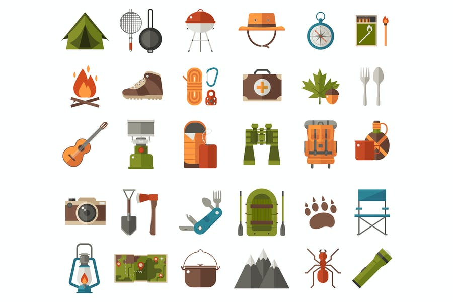 Hiking and Camping Vector Icons