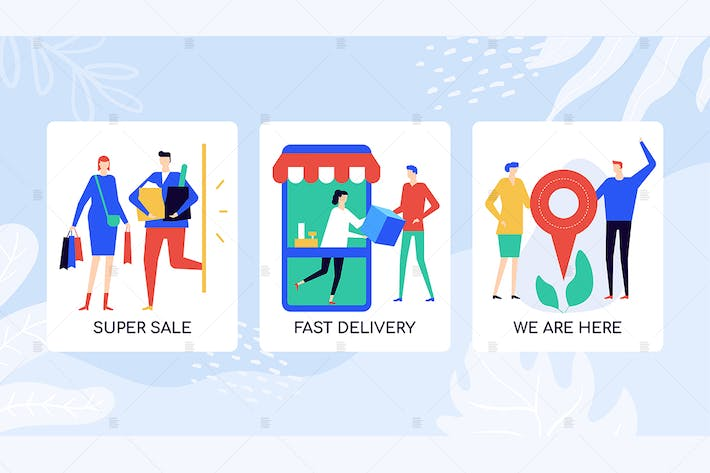 Thumbnail for Online shopping flat banners