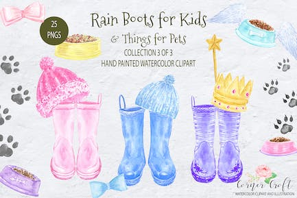 Watercolor Rain Boots for Kids and Things for Pets