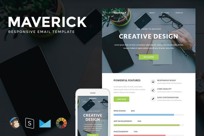 Thumbnail for Maverick - Responsive Email + StampReady Builder