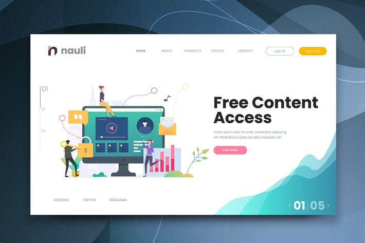 Thumbnail for Free Content Access Web PSD and AI Vector Template