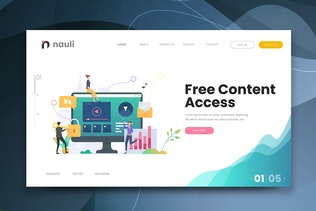 Free Content Access Web PSD and AI Vector Template