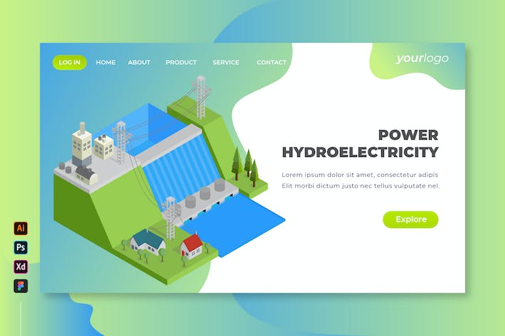 Thumbnail for Power Hydroelectricity - Isometric Landing Page