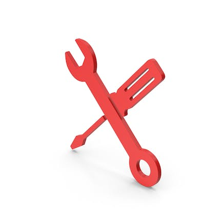 Symbol Screwdriver And Wrench Red