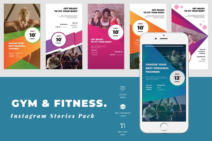 Thumbnail for Gym Instagram Stories Template