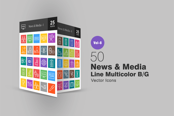 Thumbnail for 50 News & Media Line Multicolor B/G Icons
