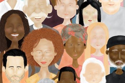 Illustration des visages de personnes multiethniques