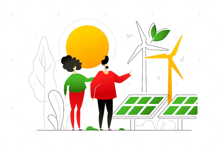 Renewable energy - flat design style illustration